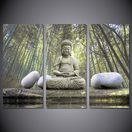 Wholesale Bamboo Forest Painting - 3 Pcs Set Framed HD Printed Stone Bamboo Forest Buddha Picture Wall Art Canvas Print Decor Poster Canvas Modern Oil Painting