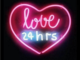 Wholesale night disco - Fashion New Handcraft Neon sign Love 24hrs Real Glass Tubes For Bedroom Home Display neon Lighht sign 14x9!!!