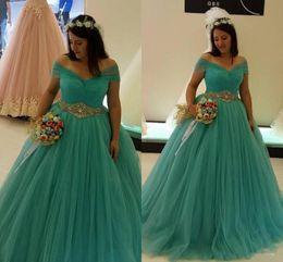 Wholesale Diamond Sashes - Plus Size Turquoise Wedding Dresses Ball Gown Off Shoulder Diamonds Belt Tulle Princess 2017 Bridal Gowns Custom Size