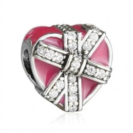 Wholesale Enamel Bow Bracelet - Valentine Magenta Present of Love Charms Beads 925 Sterling-Silver-Jewelry Enamel CZ Bow Heart Beads Fits Brand Bracelets DIY Making
