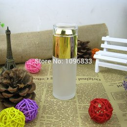 Wholesale Wholesale Acrylic Spray - 1.7oz 50ML Frosted Glass Bottle Gold Acrylic Cap, Cosmetic Packing Bottle, 50cc Spray Bottle, Atomizer & Lotion Nozzle, 18pc Lot