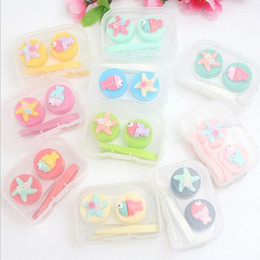 Wholesale Glass Cartoon - Cartoon Cute Five-pointed star Glasses Double Contact Lenses Box Contact Lens Case For Eyes Care Kit Holder Container Gift F2017422