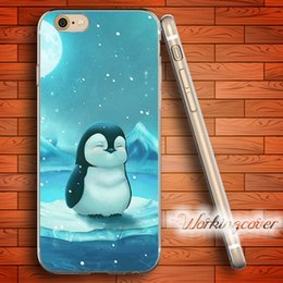 Wholesale Silicone Cover Penguin - Coque Cartoon Art Cute Penguin Soft Clear TPU Case for iPhone 7 6 6S Plus 5S SE 5 5C 4S 4 Case Silicone Cover.