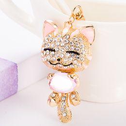 Wholesale keychain cat - Bling Bling Crystal Rhinestone Cute Animals Cat Metal Keychain Keyring Car Keychains Purse Charms Handbag Pendant