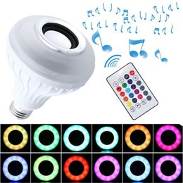 Wholesale Rf Bluetooth - New Wireless Bluetooth Speaker LED Light Bulb With RF Remote Control Smart wifi lamp Color Changable Intelligent LED lamp E27