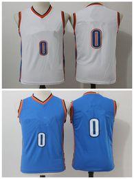 Wholesale Youth Basketball Jerseys - 2017-2018 Youth Basketball adldas Retro City Thnuder Blank White Blue Basketball jerseys Short