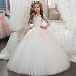 Wholesale Pockets Bow Wedding Dress - Wedding Dresses for Little Girls 2017 Pentelei Cheap with Short Sleeves and Pockets Appliques Satin ivory flower girl dresses