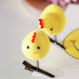 Wholesale Wholesale Small Spring Clips - 2017 hot selling Meng cute chicks hairpin spring small yellow chicken Meng chicken hair accessories hair clip free shipping