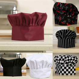 Wholesale Kitchen Hats - 1Pcs Cook Adjustable Men Kitchen Baker Chef Elastic Cap Hat Catering Comfortable
