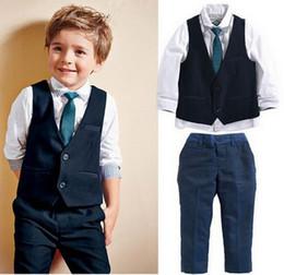 Wholesale Kids Necktie Shirts - 4PCS Baby Boys Dress Suit Vest + Shirt + Necktie +Pants Set Kids Clothes Outfits