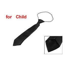 Wholesale Ties For Children Polyester - Wholesale- IMC Solid Black Polyester Elastic Slim Necktie Neck Tie for Child
