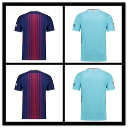 Wholesale M Badges - Thai quality 2017 2018 goalkeeper red adult short sleeve soccer Jersey 17 18 home red blue away blue embroidery badge football shirts