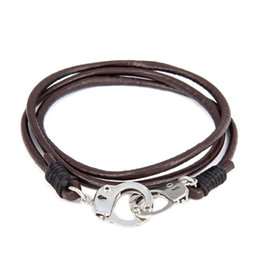 Wholesale Handcuff Leather Bracelet - Wholesale-64 CM Genuine Leather Mans Handcuff Bracelets Brown Bracelet Men Pulseira Masculina Leather Charms Bracelets For Man Jewelry