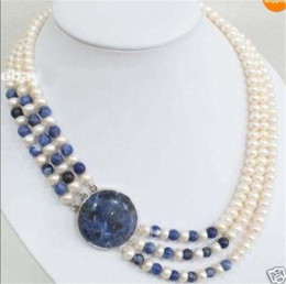 Wholesale Lapis Lazuli Pearl Necklace - Details about 3 Rows Natural 7-8mm White Cultivation Pearl & Lapis lazuli Round Beads Necklace