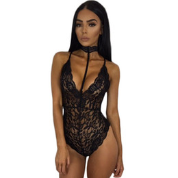 Wholesale Backless Halter Bodysuit - Sexy Women Lace Bodysuit 2017 Summer Crochet See Through Straps Deep V Neck Halter Bodycon Jumpsuit Backless Bandage Bodysuits 17411