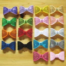 Wholesale Kids Hair Bobbles - 2 Inch Pretty Sequins Ribbon Bows DIY Baby Bowknot Hair Elastic Bobbles Bow Hairband Hair Accessories Kids Mix 18 Color C93L