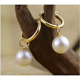 Wholesale south sea pearls singapore - new 8-9MM AAA south sea white pearl earrings 14K GOLD