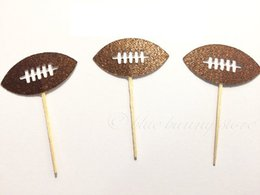 Wholesale Football Birthday Decorations - Football Glitter Birthday Cupcake Toppers Food Picks Decor Decorations Sports Boy Party Favors wedding Party Decoration 30pcs