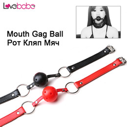 Wholesale Sm Mouth - New Sex SM Open Mouth Gag Ball for Couples Erotic Toys SM Bondage PU Leather Adults Games for Women Oral Fixation Stuffed toys