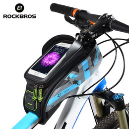 Wholesale Top Tube Bag Phone - ROCKBROS MTB Road Bicycle Bike Bags Touch Screen Cycling Top Front Tube Frame Saddle Bags For 5.8 6.0 Cell Phone Cases