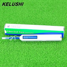 Wholesale Mu Connector - Wholesale- KELUSHI New Fiber Optic Cleaner Pen Upgrade LC MU 1.25mm Connector Optical Fibre Cleaner One-Click cleaning Tools