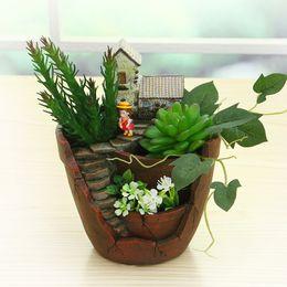 Wholesale Novelty Plant Pots - New Novelty Resin Garden Pots Creative Bonsai Plant Flower Pot For Office Desktop Decoration