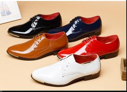 Wholesale Casual Shoes For Dresses Blue - New Design Fashion Men Casual Patent Leather Shoes for Men Pointed toe Dress Shoes Male Formal Wedding Oxfords Shoes