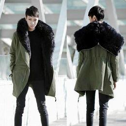 Wholesale Winter Mens Fashion Dress Coats - Wholesale- Top Quality New Fashion Mens Long Winter Cotton Parka Dress Hooded Coat Parkas Coat Fashion Fur Collar Warm