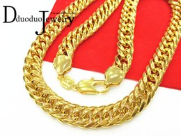 Wholesale Thick 14k Gold Chains - Real Heavy Men's Gold-Color FINISH THICK MIAMI CUBAN LINK NECKLACE CHAIN 11mm 118G 60CM