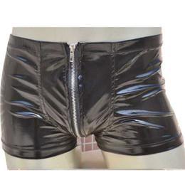 Men Zipper Intimo Boxer Shorts Sexy Mutande Mutandine a marsupio Apertura sul cavallo Vita elastica Novità Lingerie da intimo nero perle fornitori