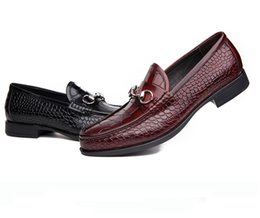 Wholesale Embossed Dresses - Fashion loafers mens embossed cow leather casual shoes men luxury buckle business dress shoes high grade office work shoes man