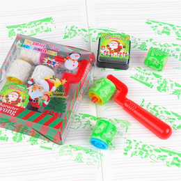 Wholesale Stamper Set Cartoon - Wholesale- 1 Set = 3 Stamps+1 Inkpad Cartoon Seal Stamper Children Christmas Stamper Toy Gift DIY Diary Decor Painting Scrapbooking Roller