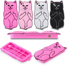 Wholesale Galaxy S4 Animals 3d - 3D Cartoon Animals Middle Finger Cover For Samsung Galaxy S4 S5 S6 S6 EDGE Cat Case For S7 S7 EDGE 1203
