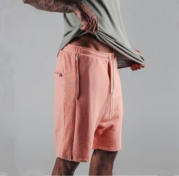 Wholesale Roll Drops - Wholesale- Good quality men hip hop drawstring shorts Zipper pocket pink drop crotch fashion men's Harem shorts rap and roll fashion style