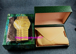 Wholesale New Wholesale Luxury Man - 3pcs Free shipping Luxury watch Mens For Watch Box Original Inner Outer Womans Watches Boxes Men Wristwatch Green box booklet card