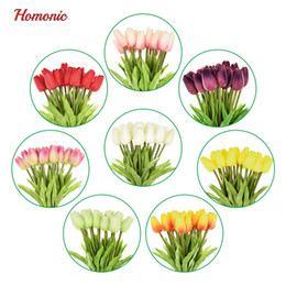 Wholesale Decorative Flowers Wreaths - 20Pcs Lot Tulip Artificial Flower Pu Latex Artificial Bouquet Real Touch Flowers For Home Wedding Decorative Flowers &Wreaths P35