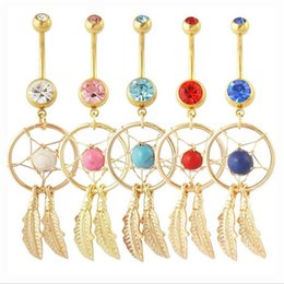 Wholesale Gem Dream Navel Catcher - Hot Body Jewelry Crystal Gem Dream Catcher Navel Dangle Belly Barbell Button Bar Ring Body piercing Art LLR86-90.