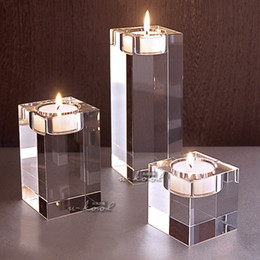 Wholesale European Style Home Decoration - Wholesale glass candlestick romantic European-style wedding home decoration crystal candle holders Free shipping