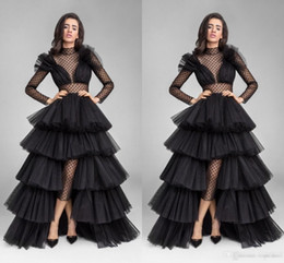 Wholesale Low Back Cut Club Dress - New Design Black Illusion Long Sleeve Evening Dresses Ruffle Tulle High Low Sheer High Neck Waist Cut Prom Gowns Formal Celebrity Dress 2017