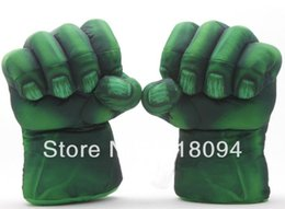 "Wholesale Superheroes Plush Toys - Wholesale-Plush The Incredible Hulk Gloves 11"" Superhero Figure Hulk Toys Children Christmas Kids Toy Free Shipping 1set"