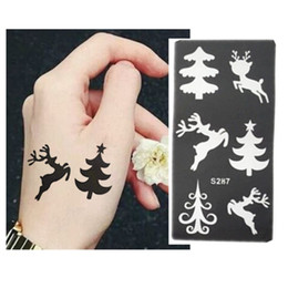 Wholesale Temporary Airbrush Tattoo Stencils Christmas - Wholesale- 6pcs Henna Tattoo Stencil For Glitter Christmas Pattern Tattoo Template Temporary Mehndi Indian Tattoo Stencils For Painting Kit