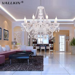 Wholesale Modern H - VALLKIN® NEW MODERN White Crystal Chandelier with 8 Lights - Candle Featured Style,AC110V-240V Crystal Chandeliers home,D:70cm H:60cm CE&FCC