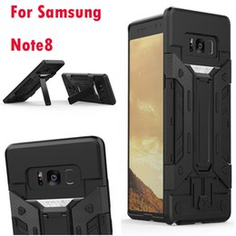 Wholesale Iron Man Casing - Shockproof Kickstand Armor Case For Samsung Galaxy Note8 Note 8 Hybrid Hard Plastic+TPU Ironman Holder Defender Cover Luxury Iron man