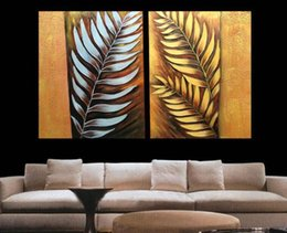 Wholesale Metal Art Wall Panel - Handpainted 2pcs set Canvas Art Abstract Metal Wall Silver Tree Leaf Oil Painting Modern Home decoration Painting