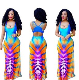 Wholesale Maxi Bra Dress - Gradient color digital printing high waisted skirt sexy bra straps and nightclub dress 2017 NEW ouc253