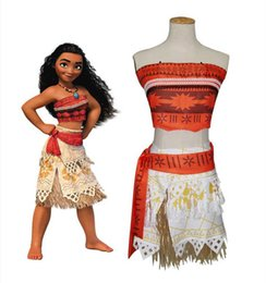 Wholesale Wholesale Girls Dress Up - NEW Kids Movie Moana Princess Dress Cosplay Costume Princess vaiana Costume Skirt dress up fast shipping free