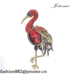 Wholesale Wholesale American Indian Products - 100PCS Lot Hot Best Selling Products Crystals Rhinestone Flamingo Brooch Animal Pins Brooches Women Jewelry Accessories