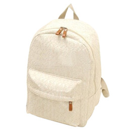 Wholesale wholesale fashion korean school bag - Wholesale- Korean lace hollow casual canvas backpack student school bag for teenagers girls