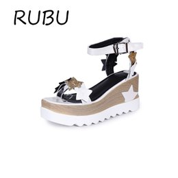 Wholesale Wedges Rubber Soles - Platform Sandals Superstar Wedges Women Summer Shoes Patent Leather Ankle Strap Sandal Rubber Sole Sandalia Feminina