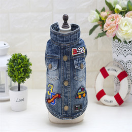 Wholesale Cool Jacket Designs - Y74 New design Winter Pet Dog Jean Jacket Clothes Cool Cartoon design Puppy Dog Denim Coats clothing for chihuahua